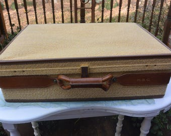 Hartmann Suitcase, 24 Inches - Tweed & Leather, Custom Crafted - Vintage - Fabulous!