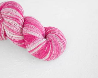 Artistic wool, laceweight art wool in baby pink and white colors, Longstriped artistic wool