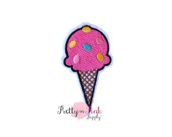 Pink Sprinkles - Ice Cream Cone Iron On Patch Embellishment - Applique- Embellishment- DIY Headband Supply- patch - Embroidered Patches