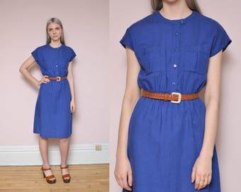 70s 50s Cotton Blue Shirtwaist Dress M Utility Pocket Dress Minimal Mod Dress Short Sleeve Spring Dress Everyday Dress Work Dress
