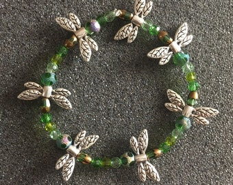 Green Beaded Dragonfly Bracelet-B 11