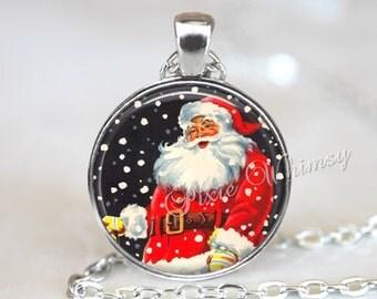 CHRISTMAS Necklace Santa Claus Pendant Jewelry Vintage Christmas Retro Christmas Santa Nostalgia Kitsch St Nick Nicholas