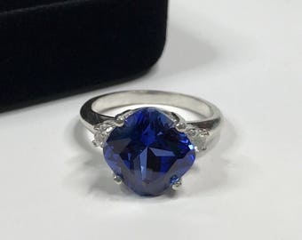 Gorgeous 5ct Cushion Cut Sapphire Ring Size 5 6 7 8 9 Jewelry Gift Mom Bride Wife September Unique Blue Sapphire Ring Side Set Square
