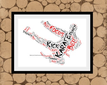 Karate Print, Personalised Karate Print, Karate Word Art, Karate Word Cloud, Karate Word Collage, Karate Gift, Karate Teacher Gift.