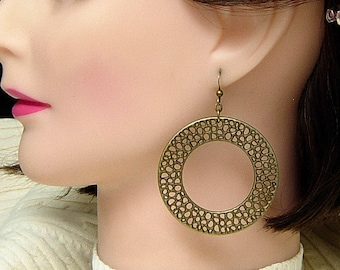 Bronze Hoop Earrings, Large Tribal Boho Gypsy Teen, Ladies Gift Earrings, Round Bronze Metal Hoops, Clip On Earrings.