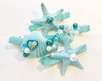 Aqua Mermaid Hair Clip- Beach Wedding Hair Clip-Hair Accessory-Mermaid Bridal-Mermaid Hair Clip