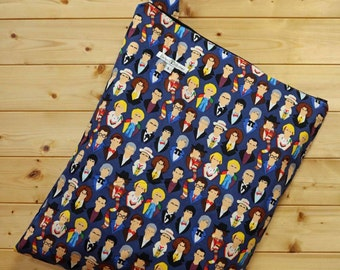 Cloth Diaper Wetbag, Doctor Who, Diaper Pail Liner, Diaper Bag, Day Care Size, Holds 12 Diapers, Size Large with Handle #L93