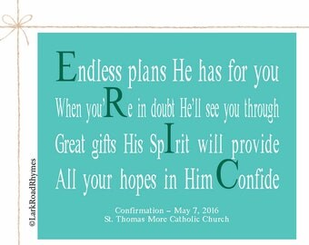 Confirmation Gift Inspirational Wall Decor Christian Art Religious Prints Keepsake Meaningful Gifts Teen Boy Godson Godchild Poem 8x10 Eric