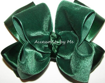 Girls Hair Bow, Hunter Green Hair Clip, Velvet Headband, Green Headband, Infant Headband, Baby Bow Headband, Green Dance Bow, Wedding Bow
