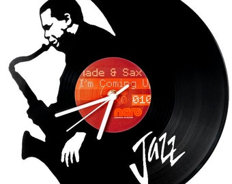 Vinyl clock Jazz Saxo