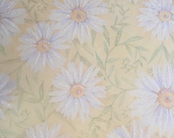 10 5.75x5.75 sheets yellow vellum with daisy pattern and a little glitter
