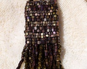 Vintage!!! Triangular Seed Bead Pouch Necklace with Fringe, Pouch Necklace, Beautiful, Metal Seed Beads, by Helen Jewlery