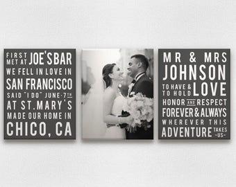 Subway Art Typography Wedding and Love Canvas Art - Customized!