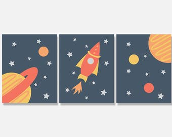 Space Art Print Digital Download Set, Outer Space Printable, Rocket Ship Planet Printable Artwork, Nursery Wall Art Decor