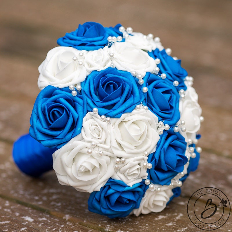 Royal Blue Wedding Bouquet White Bridal Bouquet Sapphire