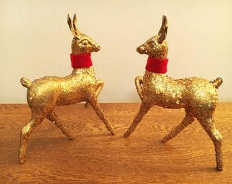 "Vintage Gold Paper Mache Reindeer - Set of 2 - 9"" - Mid Century Sparkly Gold Glitter Deer - Hollywood Regency Decor - Holiday Decor"