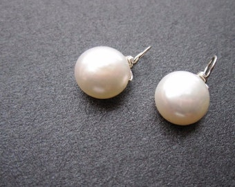 IVORY Freshwater Pearl, FLAT ROUND drops, Interchangeable earrings and necklace pendant