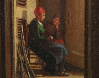 Small Antique Oil Painting of Dutch Interior w/ Two Women in Hallway, 19th Century, 611DXR13P