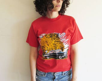 Vintage 80s 90s Distressed Red 57 Chevy  Classic Car T Shirt