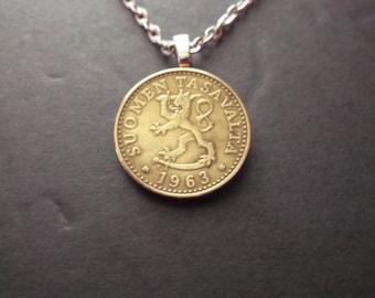 Finland Suomen Tasavalta Gold Colored Coin Necklace -1963 Finland Coin Pendant -