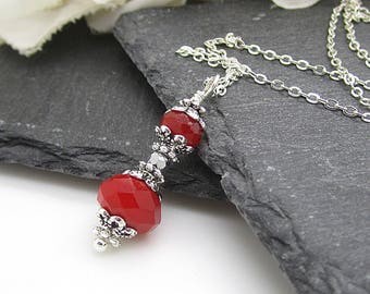 Red Wedding Jewellery Red Necklace Bridesmaid Jewellery Crystal Wedding Sets Bridal Party Jewellery Red and Silver Bridesmaid Gifts