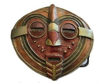 Vintage Tribal Mask Belt Buckle - Face - African - Alien - Art - Red Orange Amber - Eyes Mouth Nose