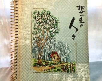 Vintage Photo Album. Asian Inspired. Spiral with Cloth Covers. House in the Trees.
