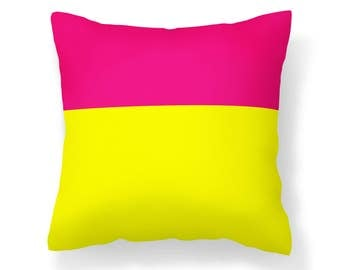 Pink Yellow Colorblock Pillow Cover - 16x16 inch pillow - 18x18 inch pillow - Pink and Yellow Pillow Cover - Pink Pillow - Yellow Pillow