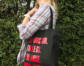 Doctor Who, River Song, Amy Pond Inspired Tote Bag - The Doctor, The Legs, The Nose, Mrs. Robinson -