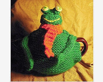 TEA COSY - Hand Knitted Cosy - FROG Tea Cosy - Knitted Cozies - Knitted Tea Cosies - Tea Cozy