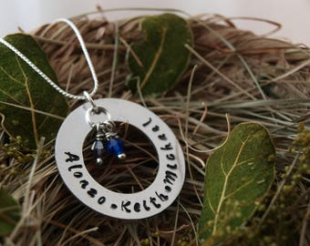 Women's Handmade Personalized Hand Stamped Family Pendant Necklace With Kids Names and Birthstones | Family Birthstone Jewelry |Gift For Her