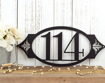 "House Number Metal Sign | Address Sign | Custom Sign | Address Plaque | Outdoor Sign | Metal Wall Art | 3 Digit | 16.25""W x 7.25""H"