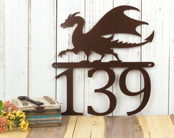 """Dragon Metal House Number   Fantasy   Medieval   Metal Wall Art   Dragon Sign   Outdoor Sign   Address Sign   Metal Sign   12""""W x 12.75""""H"""