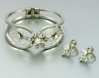 Vintage Bracelet & Earrings Set. Silvertone Hinged Clamper Bracelet with Signed B.N. Screwback Earrings. Rhinestone Bracelet and Earrings
