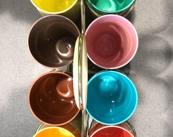Eight Colorful Thermo-Temp Tumblers and Carrier