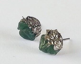 Dark raw aventurine pyrite studs Dark greengold  studs sterling silver aventurine posts studs