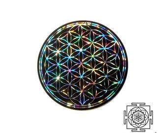Flower of Life Sticker / Holographic / Window Sticker / Car sticker / Laptop Sticker / Sacred Geometry Sticker / Black Silver vinyl