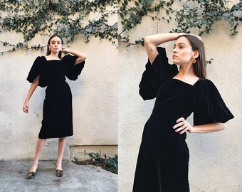 Vintage 1950s Black Velvet Hourglass Wiggle Bombshell Dress with Dramatic Oversized Balloon Sleeves size Extra Small XS