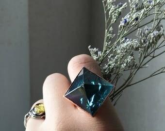 Large Aqua Aura Pyramid Statement Ring