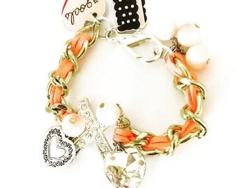 Sweet peach charm bracelet