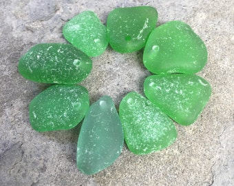 Top Drilled, Real Genuine Sea Glass Pendants, Beach Glass, Jewelry Supplies, DIY, Artisan, Natural, Green, Spring Green, Mint, Beach Soul