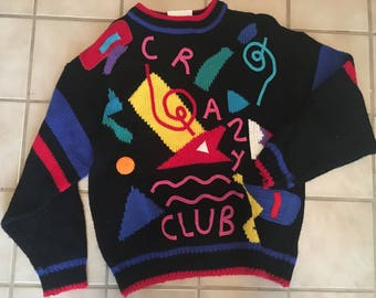 Vintage 1980's Crazy Club Abstract Sweater