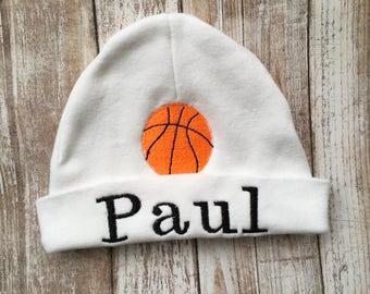 Infant basketball etsy custom newborn hat personalized baby gifts basketball baby shower gift newborn hospital hat negle Choice Image