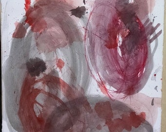 Abstract Water Color Painting - Artist with Autism - Greys & Reds