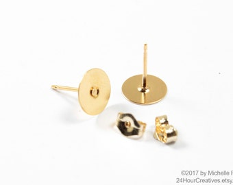 14Kt Gold-Filled Earstuds - 8mm Flat Pad Blank Gold Earring Posts - Glue on Ear Studs with Earnut/Backings - 1 Pair - MADE IN USA