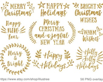 56 Gold Christmas overlays, gold glitter Christmas clip art set for Christmas cards, scrapbooking, commercial use, PNG, instant download