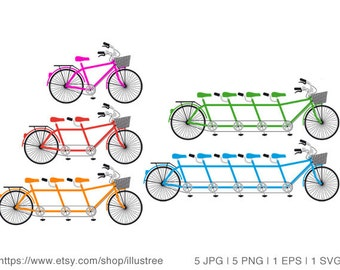 Tandem bicycle, family bike, team, bicycle clip art set, illustration, commercial use, vector, PNG, EPS, SVG files, instant download