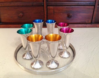 Mid Century Gorham Sterling Silver Enameled Cordial Cups & Crystal Wine Coaster with Sterling Lip -Patterns 951 and 1320