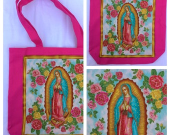 Virgin de Guadalupe Pink Tote Bag