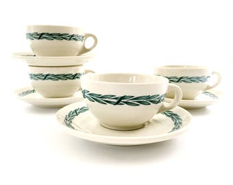 Mayer China Cups and Saucers • Set of 4 • 1950's Restaurant Ware • Laurel Pattern • Ivory and Green